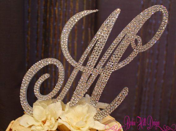 Crystal monogram wedding cake topper. Letter M.