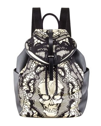 Skull & Lace-Print Leather Backpack by Alexander McQueen at Neiman Marcus.