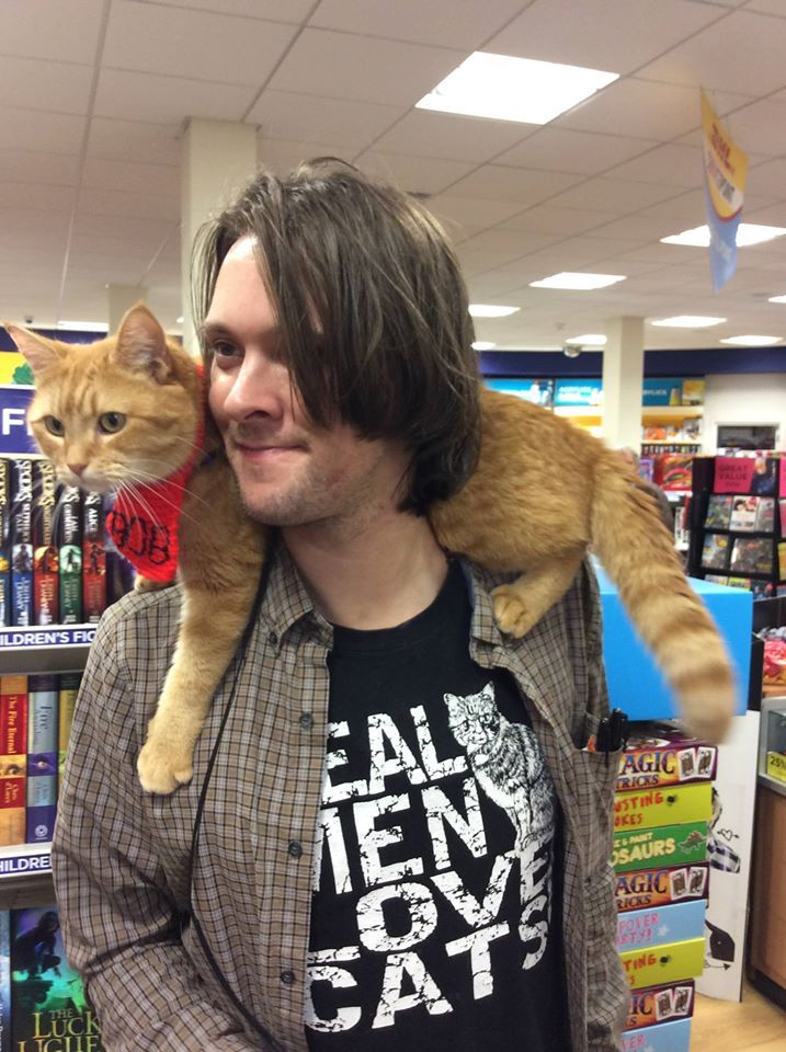 Bob & James @ WHSmith book signing - from FB page James Bowen & Street Cat Bob
