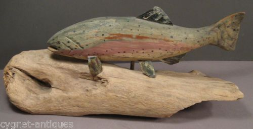 Carved-Wood-Rainbow-Trout-on-Driftwood-by-Wisconsin-Woodcarver