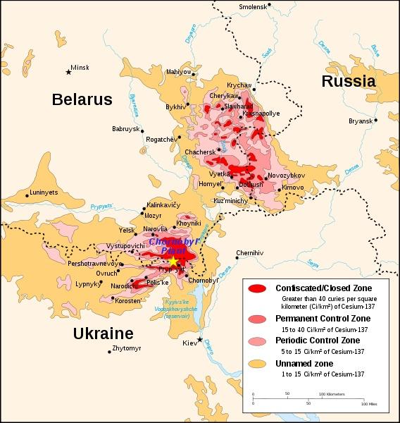 Chernobyl radiation map 1996