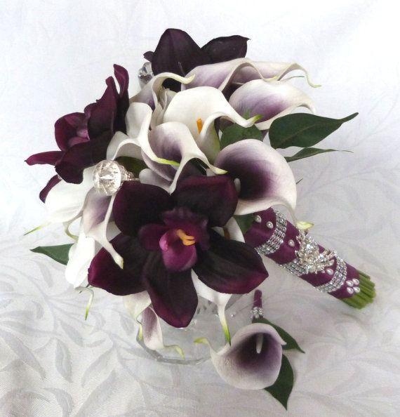Picasso Real Touch Calla Lily Ramo de novia Ciruela orquídea cala blanca y pu …