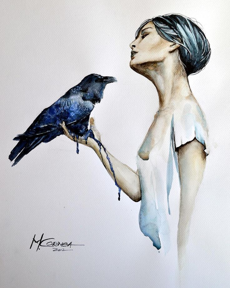 Blue bird by Maria Cornea watercolor 31x41cm