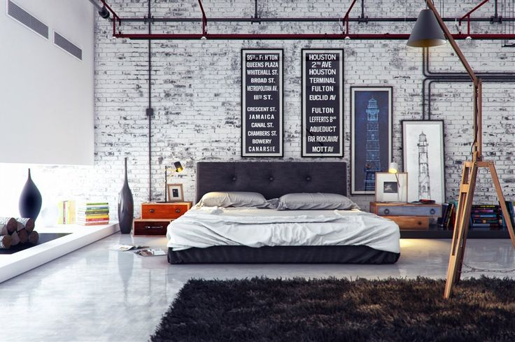 Cool Industrial Style Bedroom Decor with White Stone Wall and Brown Rug Idea