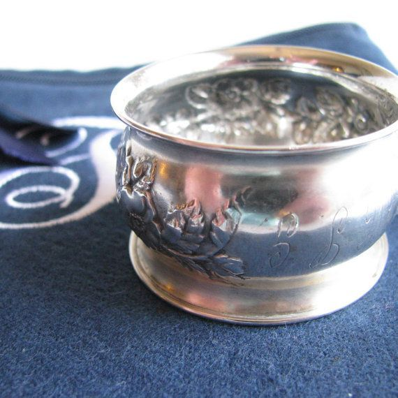 Antique sterling silver napkin ring with marking of W superimposed over C. 6 x 6 Zippered Monogrammed Flannel Anti-Tarnish Bag by SherwoodSilverBags on Etsy