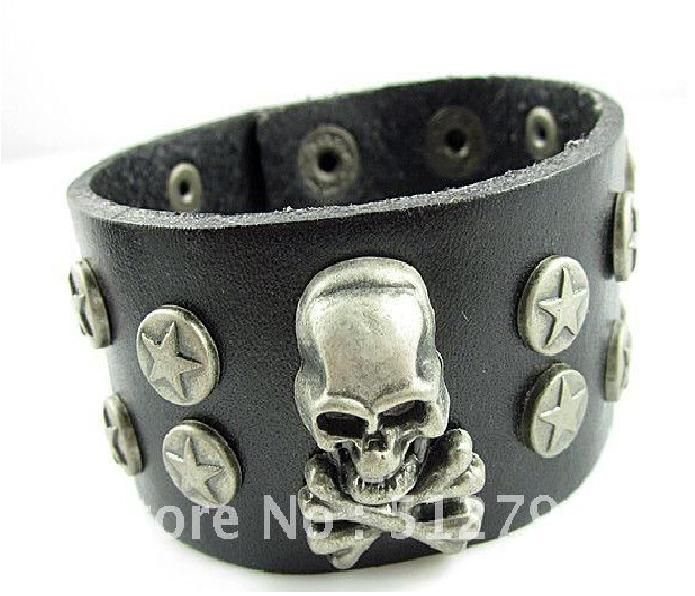 Leather Skull Bracelet. Available at the downtown market asheville booth #3. Just walk into the store and check a beautiful glass showcase with bright lights on the right wall near to the entrance. We ship also!