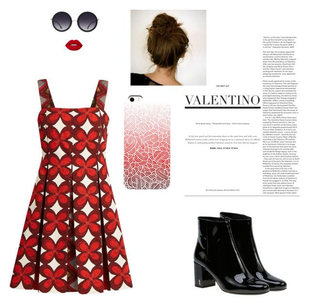 """Red Valentino"" by mariapauladiaz142 on Polyvore featuring Valentino, Yves Saint Laurent, Alice + Olivia and Lime Crime"