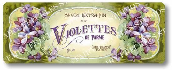 Articolo 34 vittoriano Violettes francese Soap Label Targa