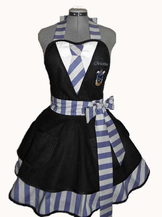 Harry Potter House Colors Retro Apron - Ravenclaw House.  By BellaLise Designs.