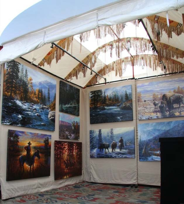 attractive Art Festival Booth Display Ideas Part - 2: dropclothes for hanging art. something above paintings for color-interest.  ArtFestival.com | Art Shows | Craft Shows | Art and Craft u2026 | Art Fair Ideas  ...