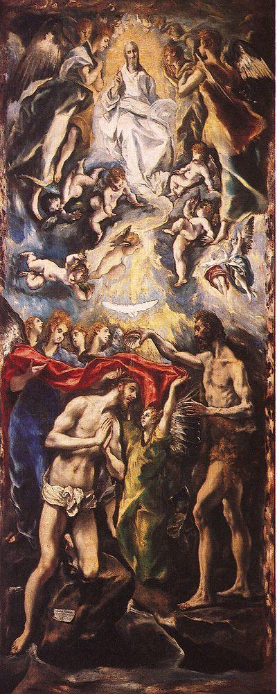 Museu do Prado. Baptismo de Cristo, por El Greco, (1608-1614)