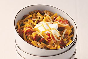 "CHUCKWAGON CHILI MAC RECIPE: ~ From: ""Kraft Kitchens.Com"". ~ Prep.Time: 5 min; Cook Time: 15 min; Total Time: 20 min; Yield: (6 servings-1 cup each). ~ It's the beans that give this smart chili mac the right to the title ""Chuckwagon."" Make it at home, on the range, in 20 minutes flat."