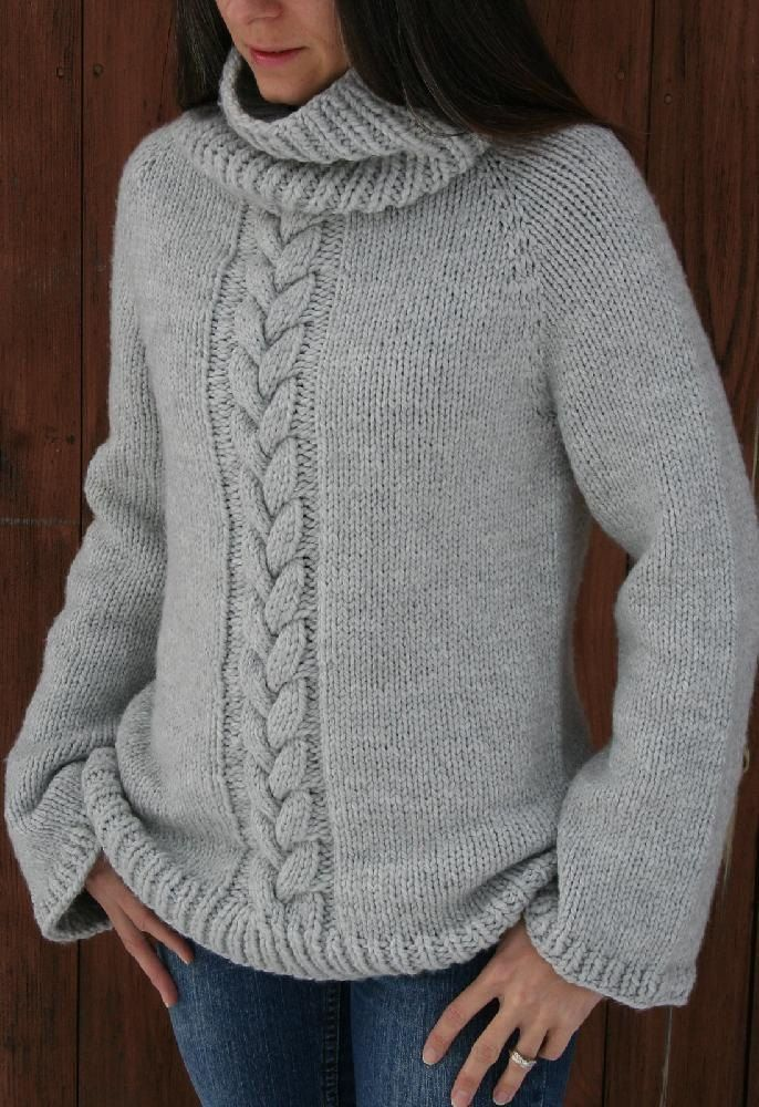 "For a rewarding quick knit this sweater is knit using large needles and chunky yarn, also knit from the top down for a seamless finish.Simply elegant or cozy and casual , this ""go to sweater"" is also practical enough for heavy duty wear down on the farm. Happy knitting."