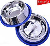 Set of 2 Etched Stainless Steel Dog Bowls by Mr. Peanuts Easy to Clean Bacteria & Rust Resistant with Non-Skid No-Tip Silicone Ring Feeding Bowls for Dogs (2 Pak / 32oz Each Bowl)