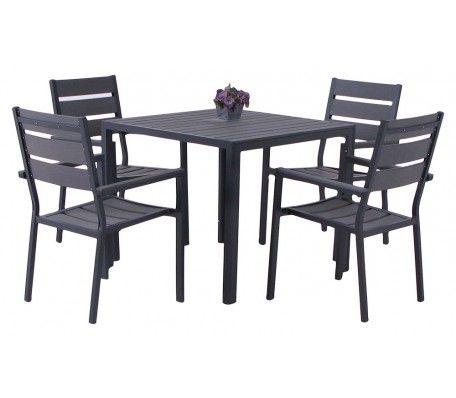 Tuinset Lima stapelstoel 5 delig met porto tafel 90x90