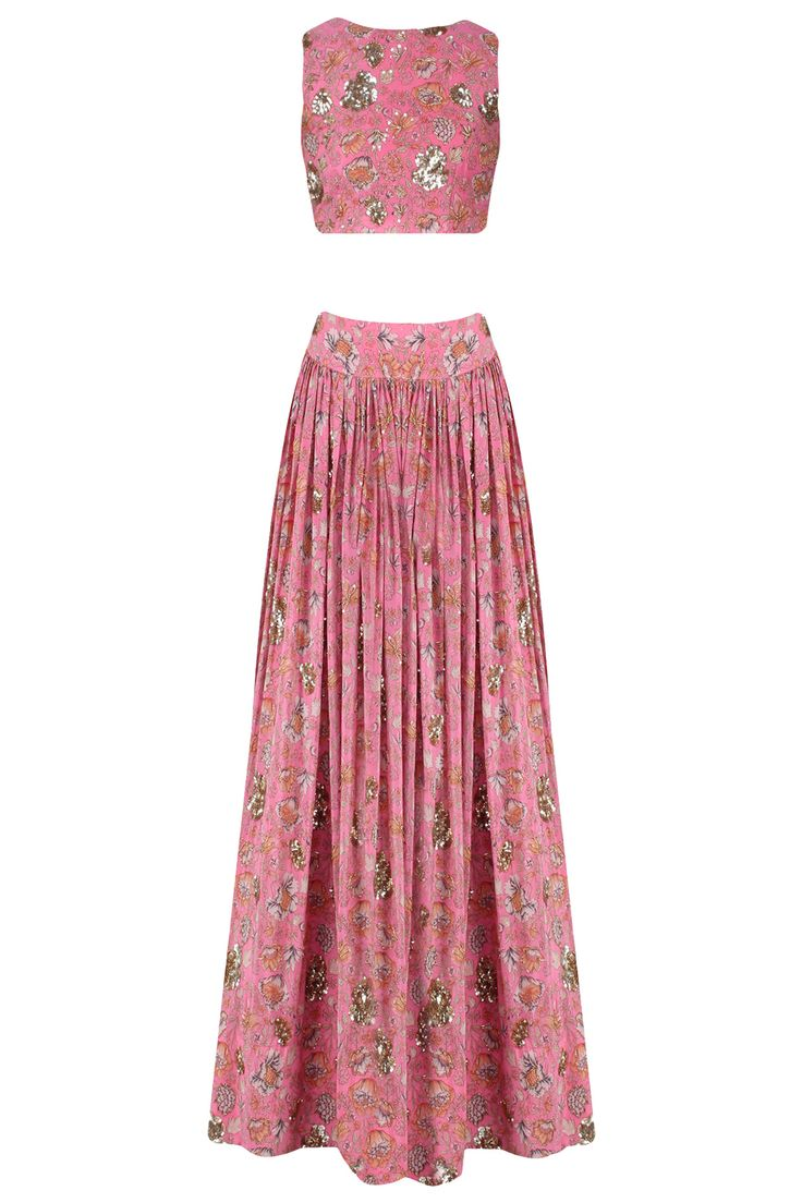 Pink floral embroidered crop top and lehenga set available only at Pernia's Pop Up Shop.