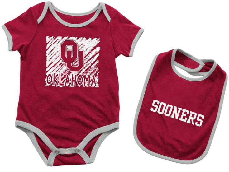 Infant Oklahoma Sooners Crimson Look At The Baby Onesie and Bib Set $19.95