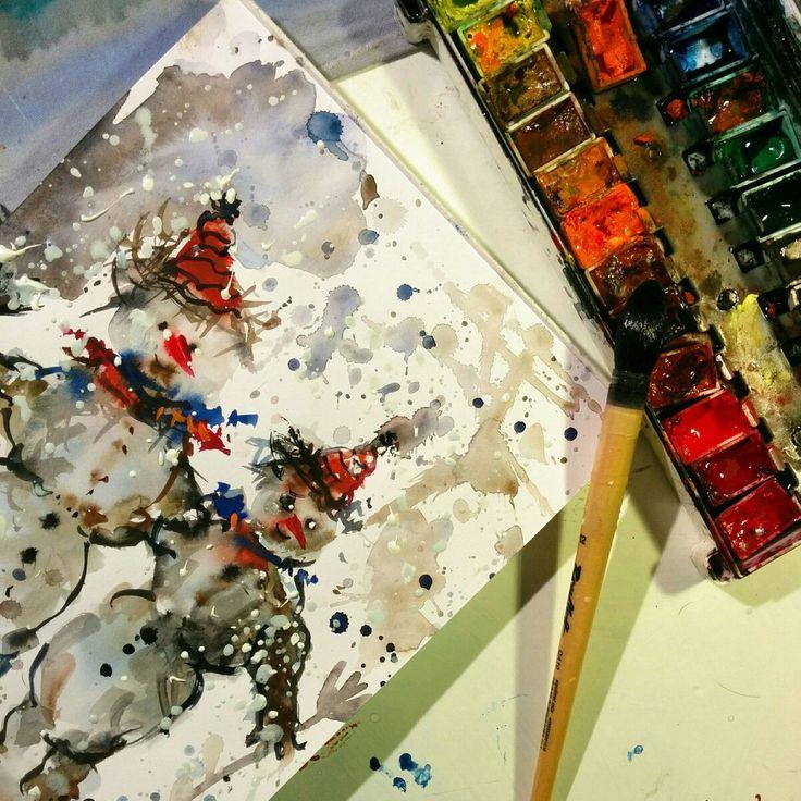 Preparazione dipinti natalizi :acquerello, carta, amore e fantasia