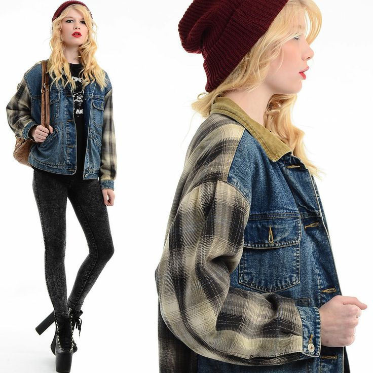 Vtg 80s 90s Grunge SHADOW PLAID Flannel DENIM Boyfriend Seattle Jean Jacket Coat | 90s fashion ...