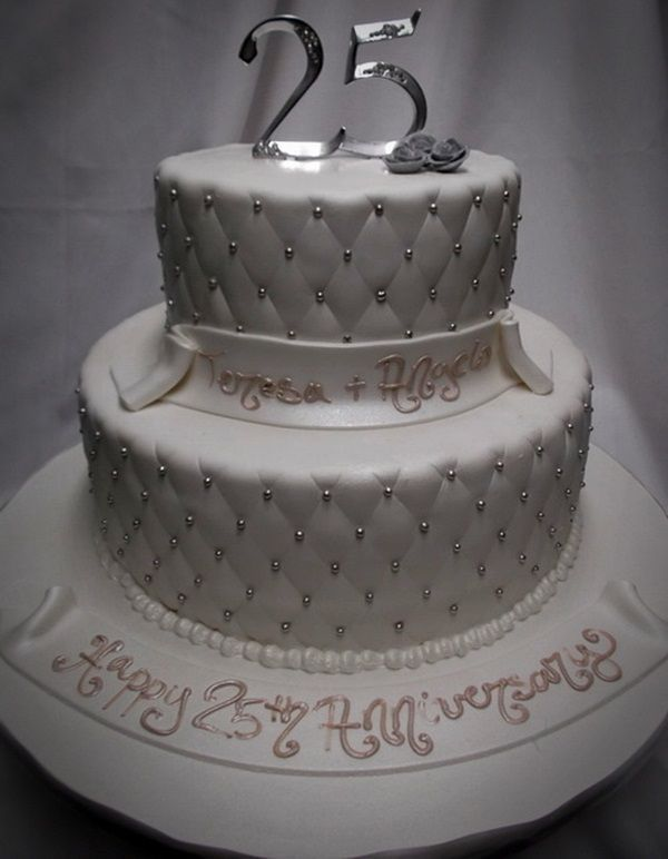 Cake Design Anniversary : 3 Tier 25th Anniversary Cake Ideas pictures Romantic 25th ...