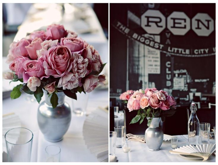 Pink English Tea Rose Centerpiece    http://www.jessilemayphotography.com/