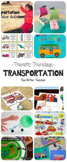 Recopilación de canciones, cuentos, imprimibles, juegos y manualidades sobre el centro temático de los medios de transporte (things that go, transport, transportation, means of transport)