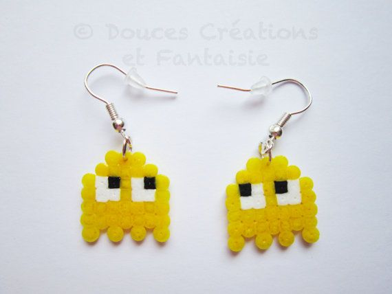Boucles d'oreilles Pacman jeu vidéo fantôme par DoucesCreations
