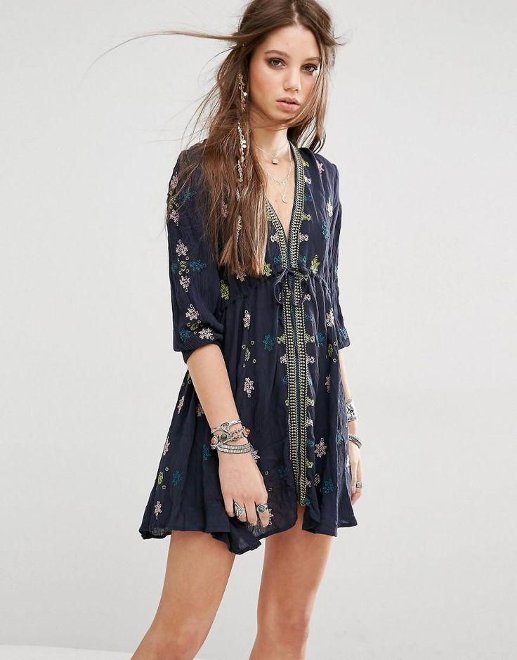 Free People | Free People Star Gazer Embroidered Dress at ASOS