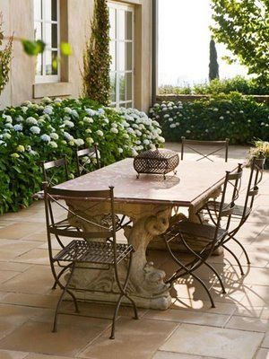 ~~~LOVE LOVE LOVE this table base and chairs!!!  And the pavers, shrubs, French doors.....SVM