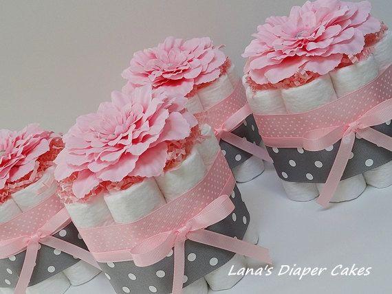 CUATRO flores de color rosa y verde pañal Mini torta bebé ducha central
