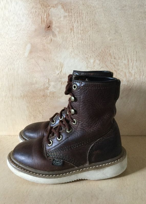 Vintage Kids Original Justin Lace up Work Boots by ForestaVintage