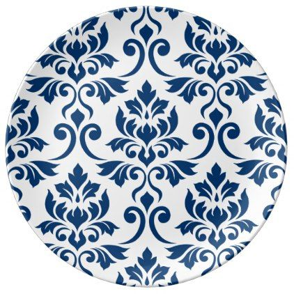 Feuille Damask Lg Pattern Dark Blue on White Dinner Plate - pattern sample design template diy cyo customize