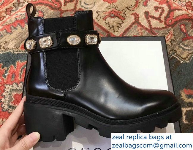 Gucci Black Leather Ankle Boots With