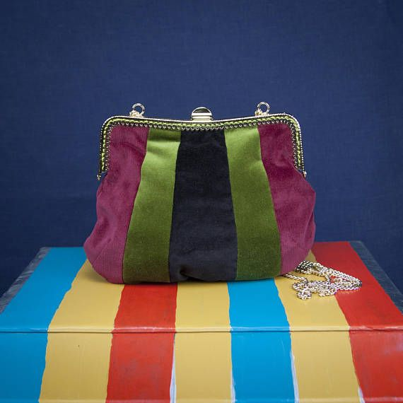 """AERIAL STRIPES"" by °Lily Wallace INDEPENDENT LABEL""   www.lilywallace.com Mini Boho Velvet Bag  Striped Velvet Purses Vintage Gifts"