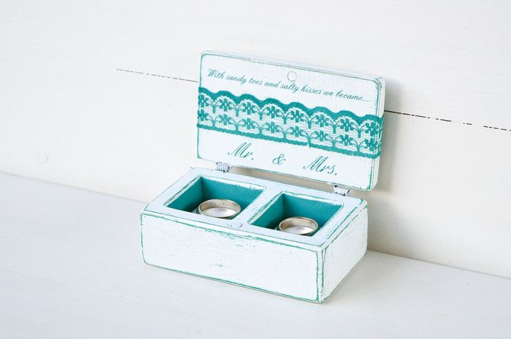Beach Wedding Ring Box, Personalized Turquoise and White Ring Box, made by Gregolino
