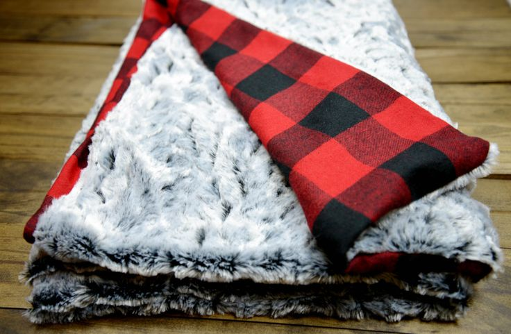 Custom Lumberjack Faux Rabbit Fur Red Plaid Throw Blanket, Gray, red black, christmas, cozy blanket with added monogram or name, Fall winter by TheCozyTot on Etsy