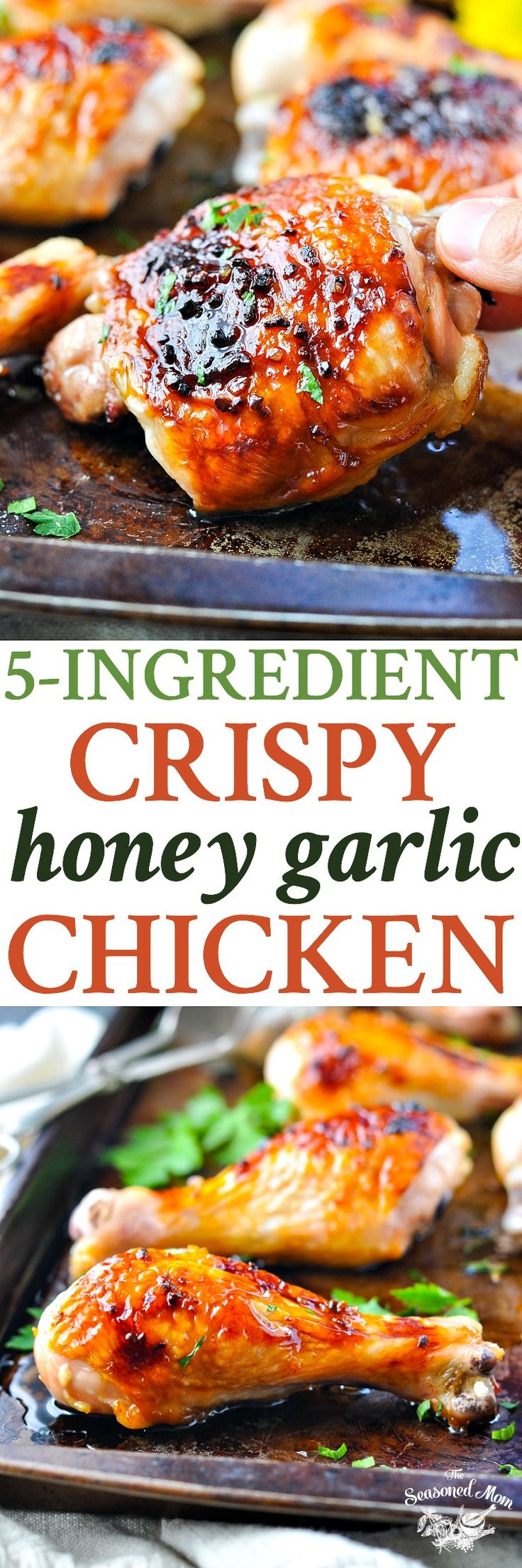 Just 5 minutes of prep for this 5 Ingredient Crispy Honey Garlic Chicken dinner! Easy Dinner Recipes | Dinner Ideas | Easy Chicken Recipes | Chicken Thigh Recipes