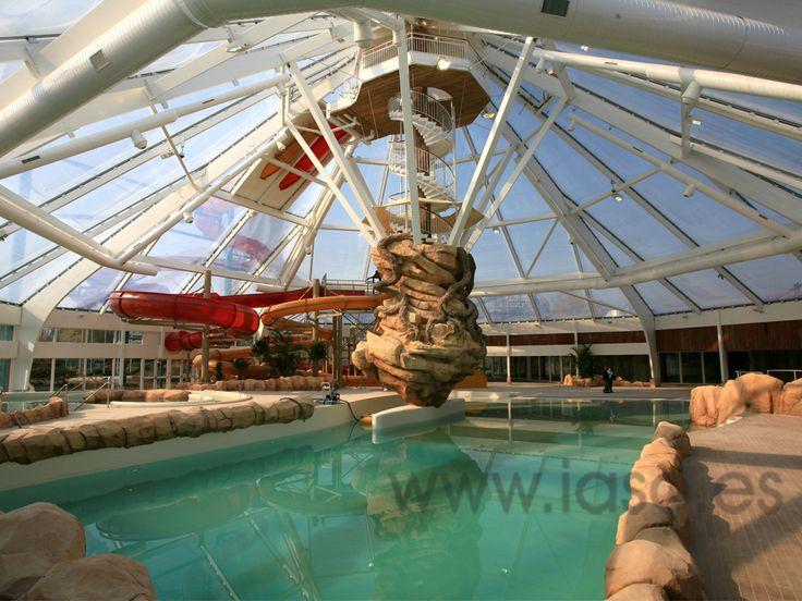 Aqualibi park with a transparent ETFE structure, in Wavre (Belgium)