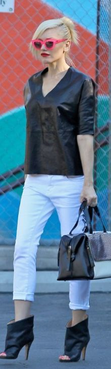 Love this ~ Gwen Stefani pink sunglasses, black open booties, and handbag