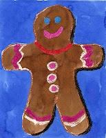 gingerbread art- watercolor crayon resist