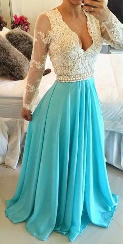 2016 Long Sleeves Turquoise Chiffon Prom Dresses Sheer Open Back Lace Beaded Evening Gowns