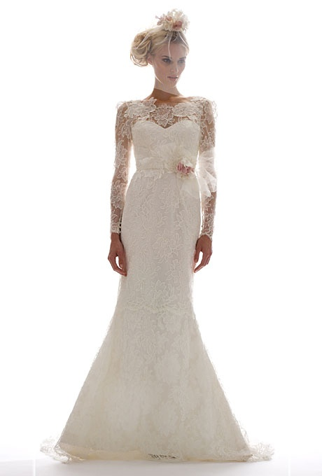 A clean trumpet silhouette adds character to this lacy gown Elizabeth Fillmore.: Dresses Wedding, Wedding Dressses, Elizabeth Fillmore, Lace Sleeve, Fall2012, Wedding Gowns, Fall 2012, Bride, Wedding Dresses Style