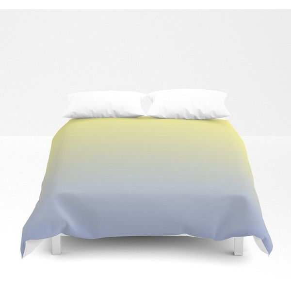 Mindfulness 6 yellow blue gradient Duvet Cover ($100) ❤ liked on Polyvore featuring home, bed & bath, bedding, duvet covers, blue bedding, blue bed linen and yellow bedding