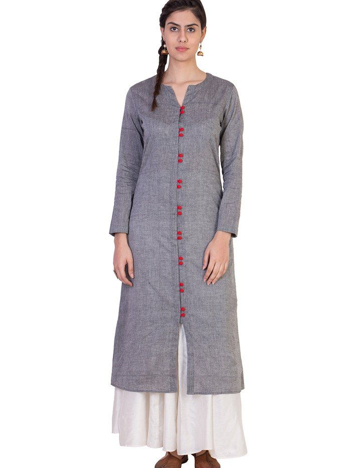 Grey Mangalgiri Cotton Tunic with White Skirt - Set of 2