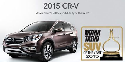 SUV of the Year 2015 and for good reason, the #Honda #CRV is at the top of its class yet again.