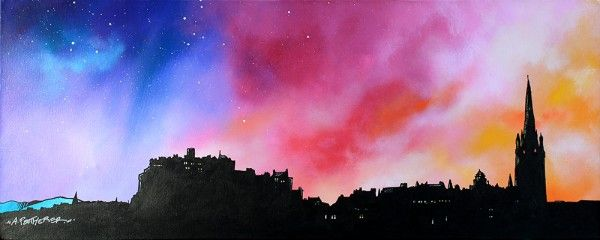 Edinburgh City Skyline at Sunset, Scotland.  An original painting and prints of Loch Lomond Dusk Through The Birch Woods, Scotland.    Original mixed media painting in acrylic paint, spray paint, oil paint and acrylic ink.