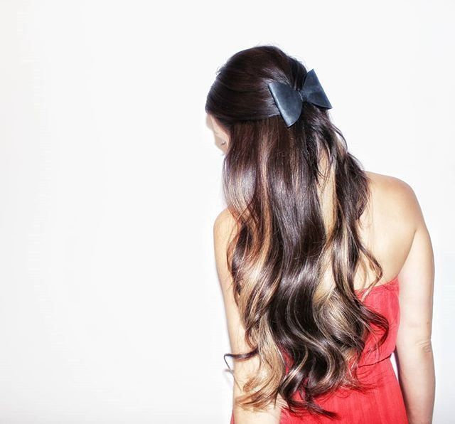 A cute hair style perfect for Valentines day.   Valentines Day Hair Style | Hair Extensions | Tape in Hair Extensions | Hair extensions before and After | Valentines day ideas