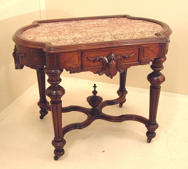 Inset Marble Top Walnut Victorian Table C1860