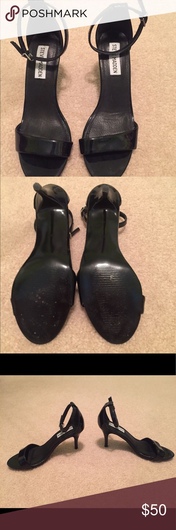 Steve Madden Black Heels Very lightly used, excellent condition, ankle straps are a little small Steve Madden Shoes Heels