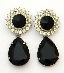 Black silver plated earings with american diamonds